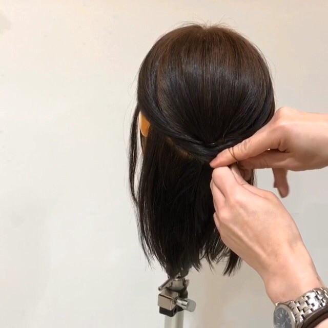 髪が短くてもできる♡こなれ清楚ハーフアップ5