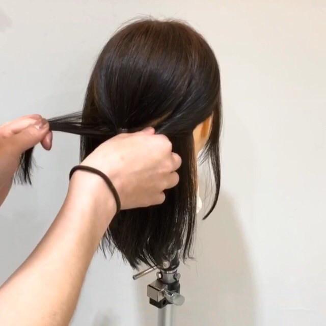 髪が短くてもできる♡こなれ清楚ハーフアップ3