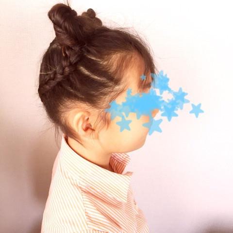 イベントに☆お子様に☆可愛さ満点のハートのお団子ヘア!4