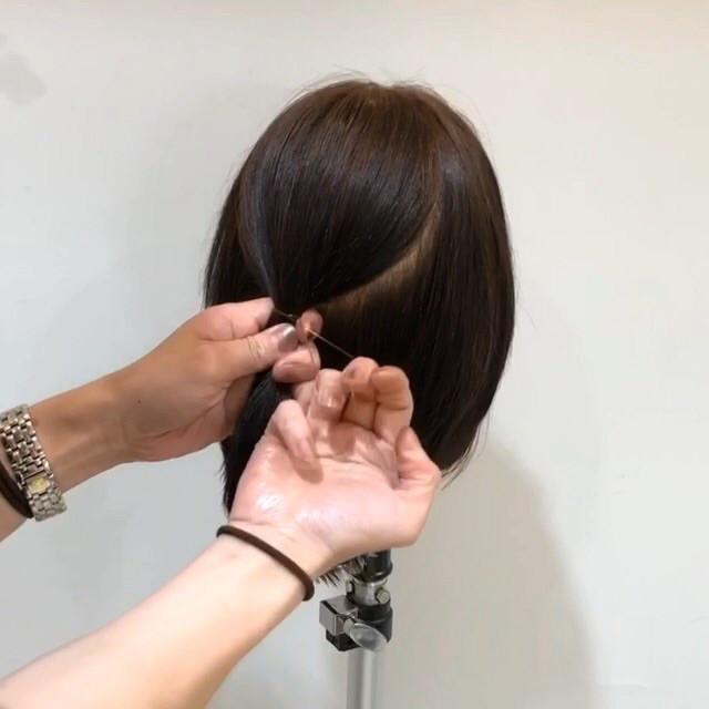 髪が短くてもできる♡こなれ清楚ハーフアップ1