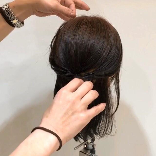髪が短くてもできる♡こなれ清楚ハーフアップ6