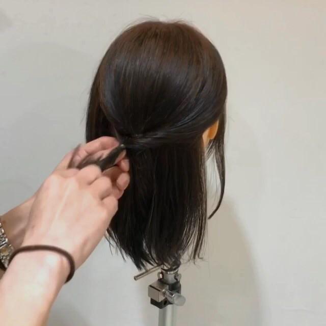 髪が短くてもできる♡こなれ清楚ハーフアップ4