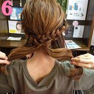 三つ編みを組み合わせて作るまとめ髪♥6
