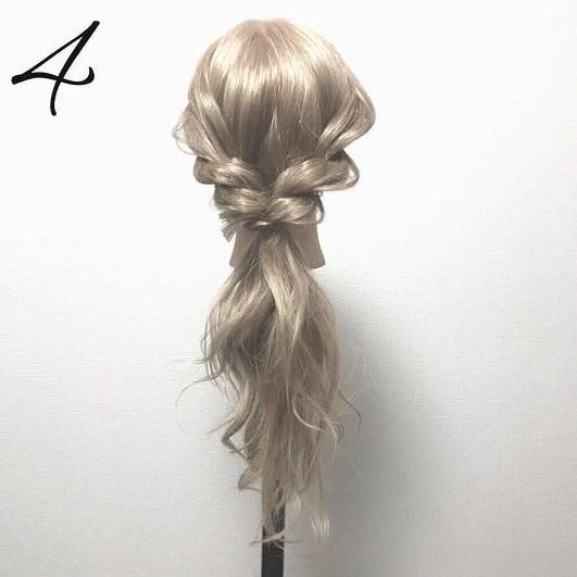 リースみたいな可愛いローポニテ♪簡単ロープ編みアレンジ4