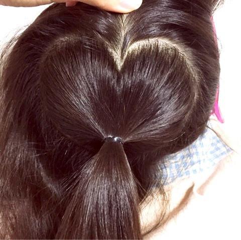 髪の毛でハートがつくれる!?編み込みアレンジ1