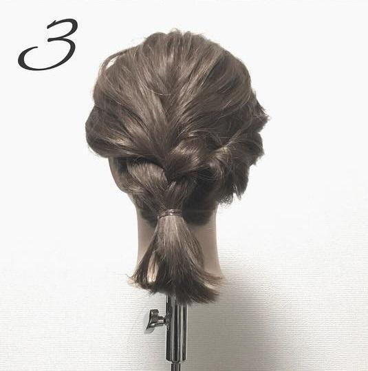 簡単なのに見た目複雑!三つ編みでできる上品まとめ髪3