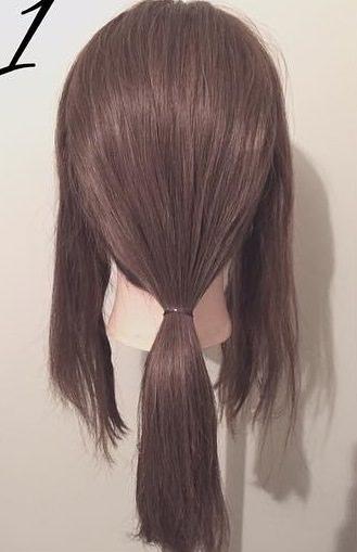 ぎゃくりんぱを使ったゆるふわまとめ髪1