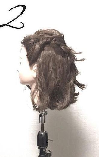 ショートボブでもできる♡ねじりまとめ髪2