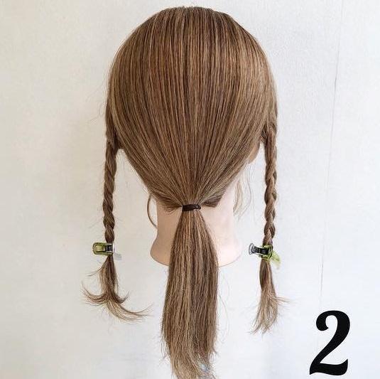 簡単モテヘア☆三つ編みローポニアレンジ2