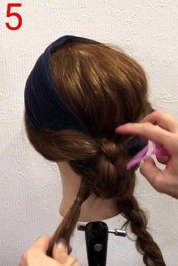 パッと目を引く☆ヘアバンド×ツインお団子アレンジ5