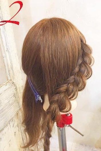 上品♪片編み込みのまとめ髪アレンジ2