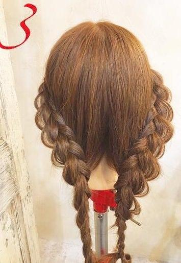 上品♪片編み込みのまとめ髪アレンジ3