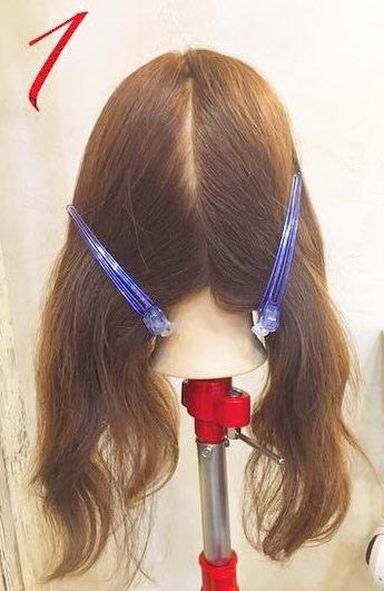 上品♪片編み込みのまとめ髪アレンジ1