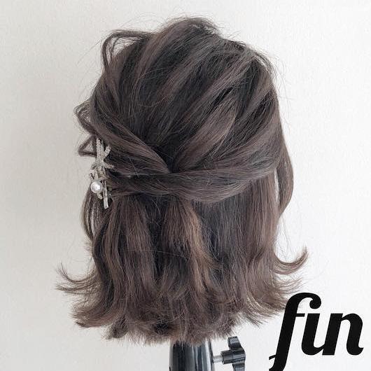 髪が短くてもできちゃう♪春にぴったりなふんわり可愛いハーフアップアレンジtop