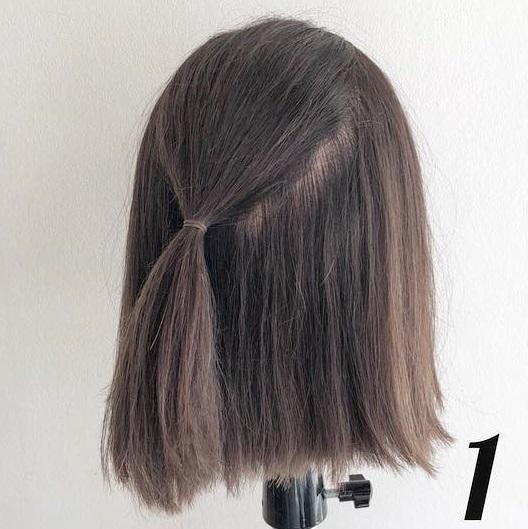 髪が短くてもできちゃう♪春にぴったりなふんわり可愛いハーフアップアレンジ1