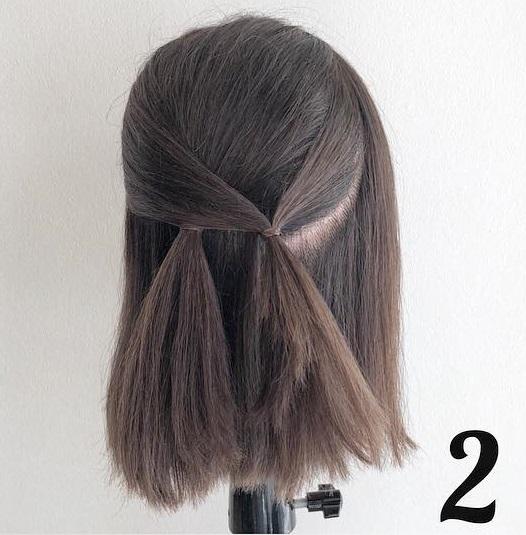 髪が短くてもできちゃう♪春にぴったりなふんわり可愛いハーフアップアレンジ2