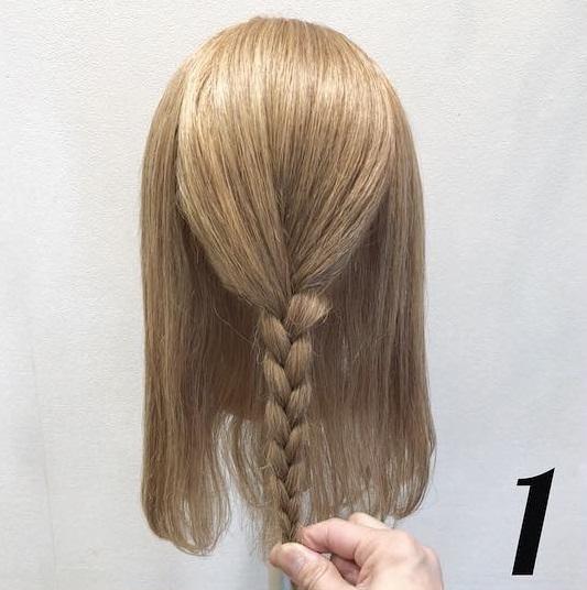 浴衣の時にしたい♡ミディアムヘアの三つ編みお団子アレンジ ◎1