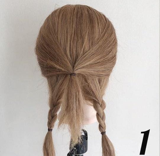 三つ編みで浴衣にも良く似合う☆ヘアアクセが映えるまとめ髪アレンジ1