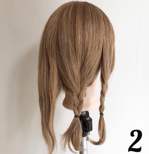 ナチュラルな可愛さ♡ミディアムヘアでもできちゃう編みおろしアレンジ2