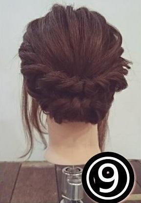 ドレスに合わせたい♡ミディアムの方向けのロープ編みアップスタイル○9