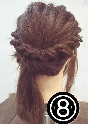 ドレスに合わせたい♡ミディアムの方向けのロープ編みアップスタイル○8