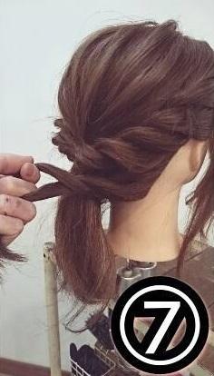 ドレスに合わせたい♡ミディアムの方向けのロープ編みアップスタイル○7