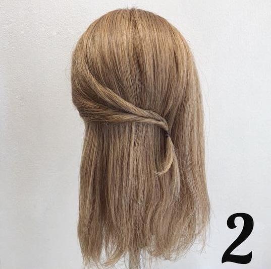 髪の毛が多い方におすすめ♪くるりんぱだけで可愛い時短ハーフアップアレンジ♡2