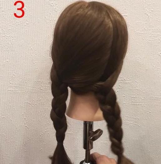 後ろ姿がひと味違う☆分け目が見えないおしゃれな三つ編みツインテール3