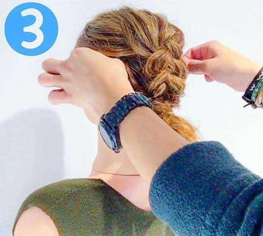 ボブの方にオススメ☆三つ編みで簡単に!かわいいローポニーアレンジ3