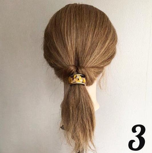 ヘアアクセが決め手☆超簡単ローポニーテールをおしゃれに見せるヘアアレンジ3