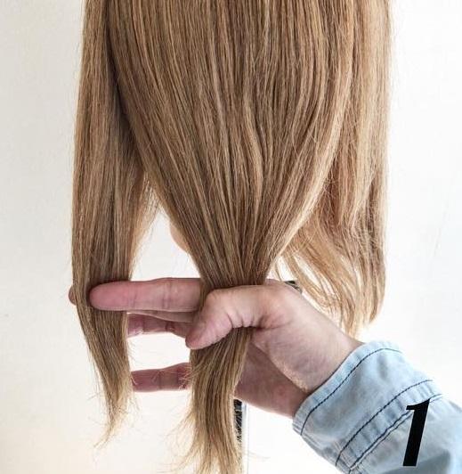 髪を巻きつけて結ぶだけでできちゃう☆ミディアムさんにおすすめのポニーテールアレンジ1