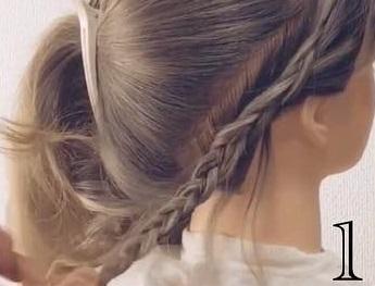 上品さにサイドの編み目でかわいさをプラス♡ふんわりすっきりローポニー♪ -1