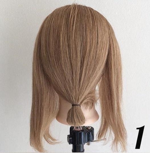 ヘアアクセサリーのダブル使いで素敵に仕上がる♪髪が短くても簡単にできちゃう、まとめ髪アレンジ1