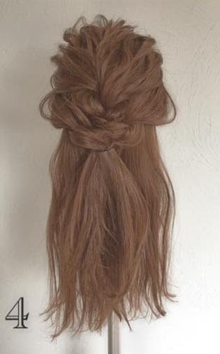 ドレスにピッタリなふわふわまとめ髪♪ロープ編みで作る華やかセルフアレンジ4