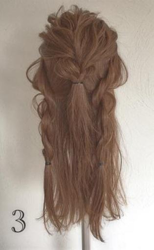 ドレスにピッタリなふわふわまとめ髪♪ロープ編みで作る華やかセルフアレンジ3