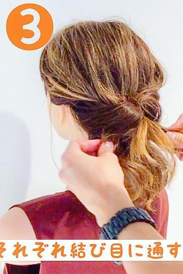 くるりんぱ風で綺麗にまとまる☆ボブ向け簡単まとめ髪アレンジ3