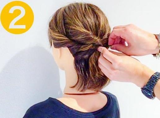 こなれ感のあるスタイルに☆髪が短くてもできちゃう、ねじりアレンジでつくるハーフアップアレンジ2