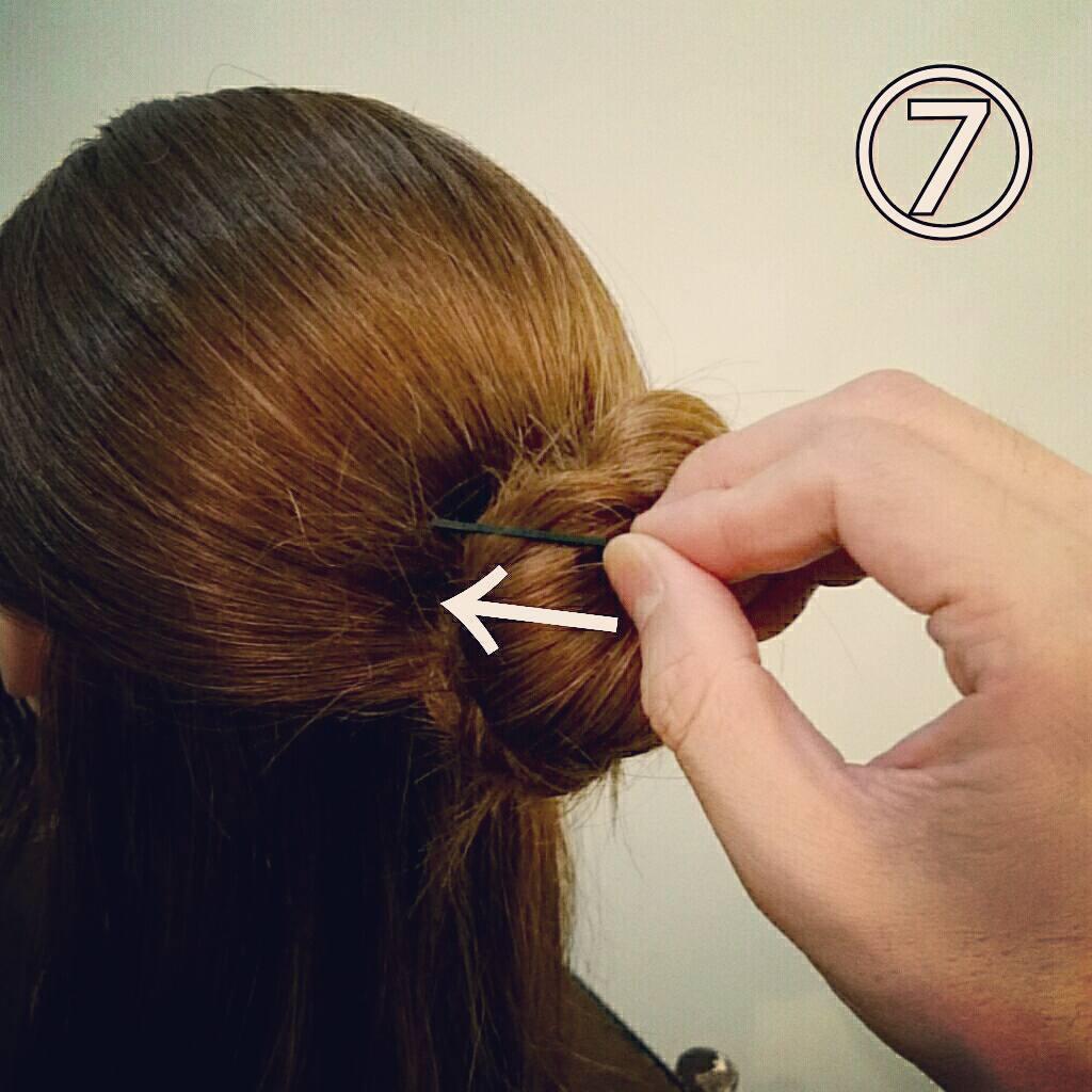 ピンのさし方がポイント!三つ編みで簡単に出来るお団子ハーフアップアレンジ7