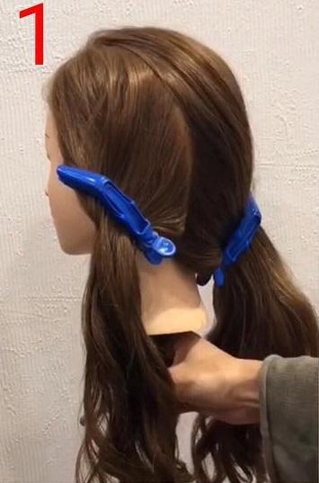 簡単なのに華やかな後ろの髪に☆お呼ばれにも使える三つ編みおろしアレンジ1