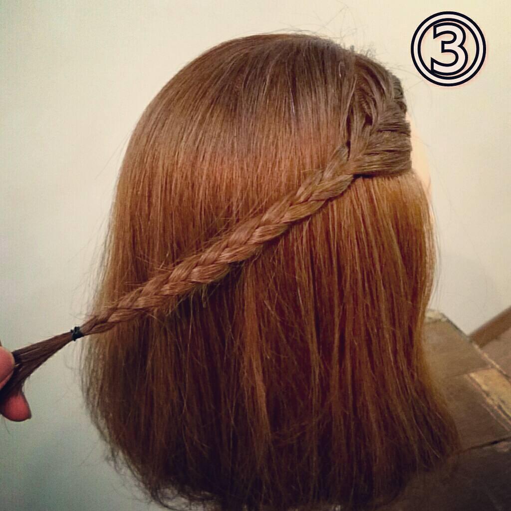 前髪で印象は変わる☆前髪が長めの方におすすめの、編み込み×三つ編みでつくる前髪アレンジ3