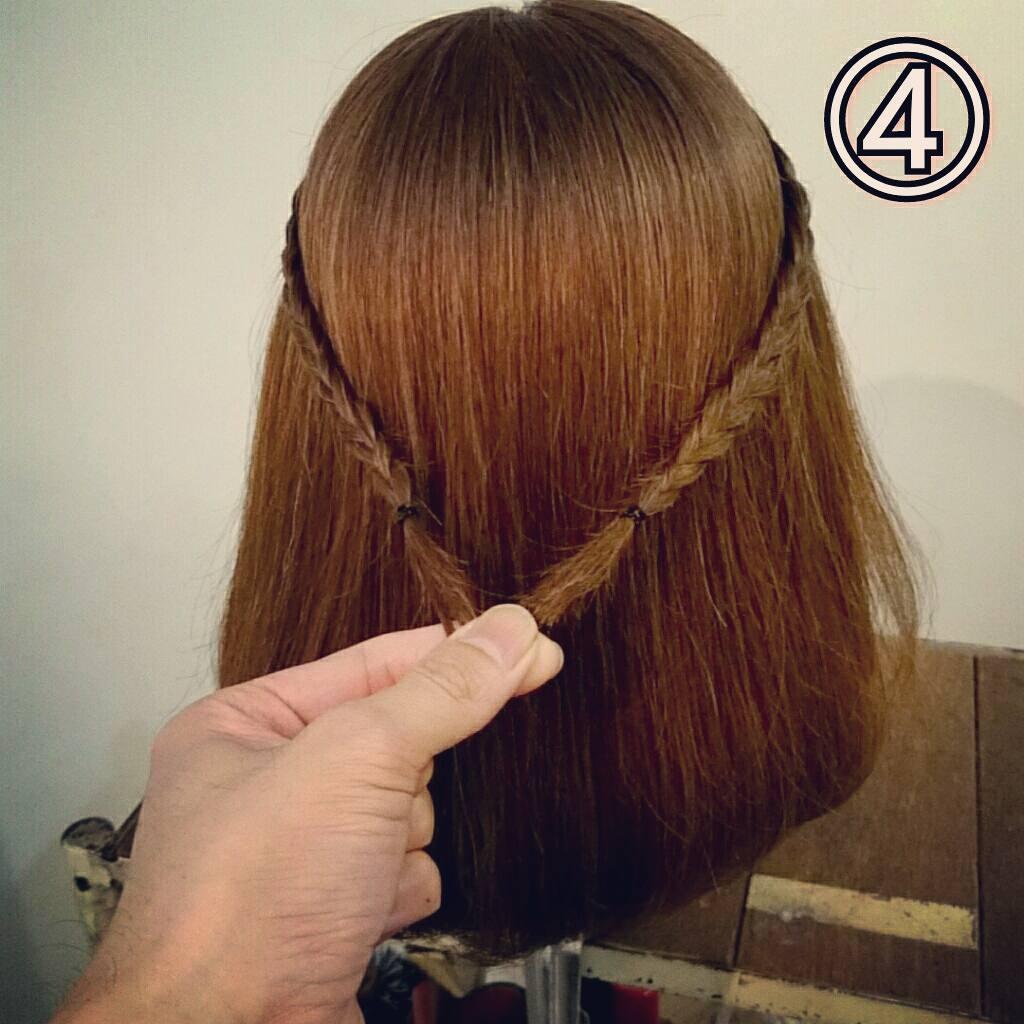 前髪で印象は変わる☆前髪が長めの方におすすめの、編み込み×三つ編みでつくる前髪アレンジ4