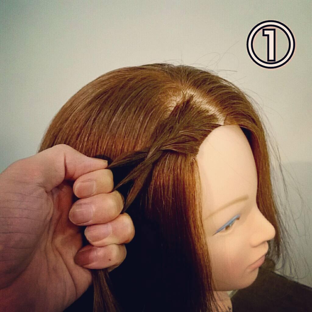 前髪で印象は変わる☆前髪が長めの方におすすめの、編み込み×三つ編みでつくる前髪アレンジ1