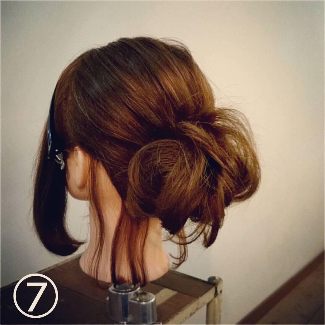 髪が長くなくてもボリューム感は出せる◎一気におしゃれ度がアップする、ルーズなお団子アレンジtop