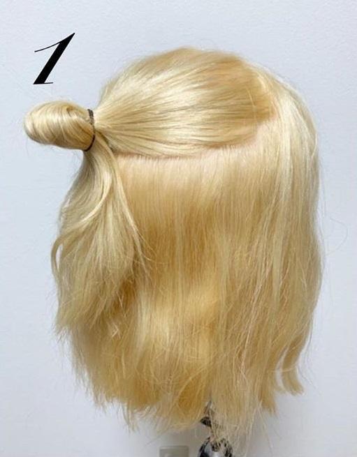 髪の量が多すぎて気になるときに☆ボブのハーフアップおだんご1