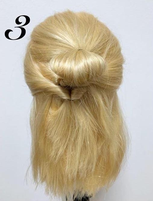髪の量が多すぎて気になるときに☆ボブのハーフアップおだんご3