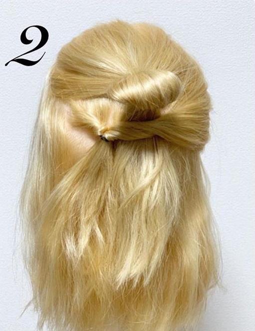 髪の量が多すぎて気になるときに☆ボブのハーフアップおだんご2