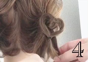 後ろからでもかわいいハートヘア!4