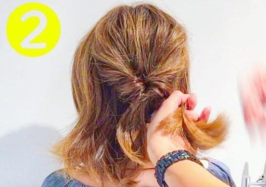 サイドの髪も落ちてこない!ボブのまとめ髪アレンジ2