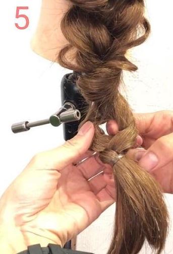 簡単だけど手の込んでる風に☆三つ編み×くるりんぱでつくる編みおろし♪5