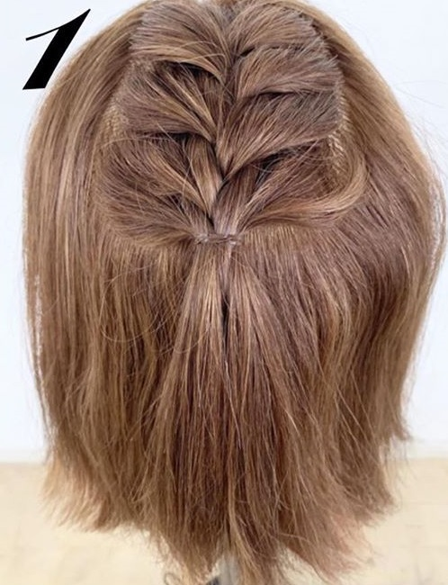 たまには「巻き髪だけスタイリングおやすみday」を◎ボブさんにぴったりの編み込み×ハーフアップアレンジ1